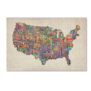 U.S. Cities Text Map Canvas Wall Art