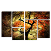 Japanese Tree 6-Panel Canvas Wall Art Set