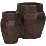Nearly Natural Design & Weave Panel Decorative Planters Set Of 2