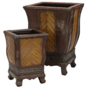 Decorative Wood Planters Set Of 2