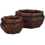 Nearly Natural Rounded Octagon Decorative Planters Set Of 2