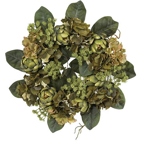 "Nearly Natural 18"" Artichoke Wreath"