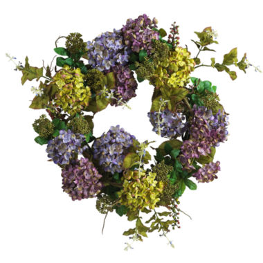 "jcpenney.com | Nearly Natural 24"" Hydrangea Wreath"