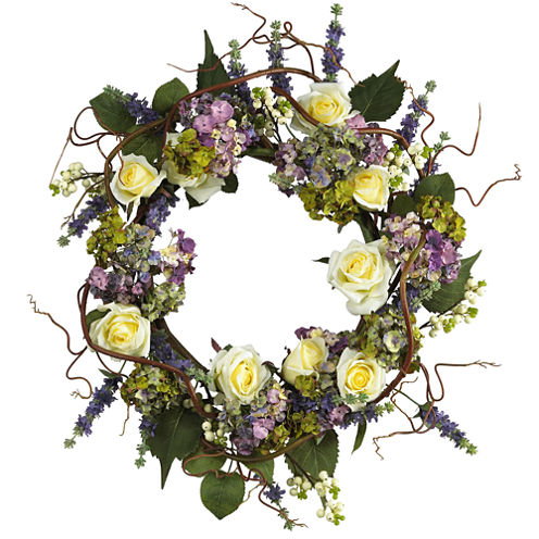 "Nearly Natural 24"" Hydrangea Rose Wreath"