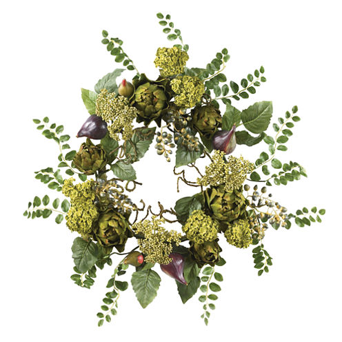 """Nearly Natural 20"""" Artichoke Floral Wreath"""
