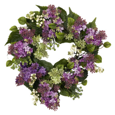 "jcpenney.com | Nearly Natural 20"" Hanel Lilac Wreath"