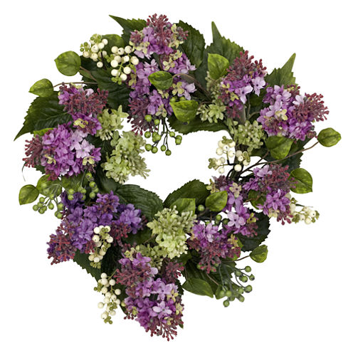 "Nearly Natural 20"" Hanel Lilac Wreath"