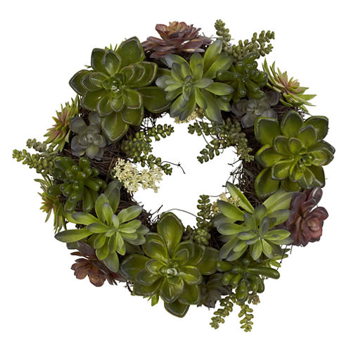"Nearly Natural 20"" Succulent Wreath"