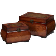 Decorative Lacquered Wood Chests Set Of 2