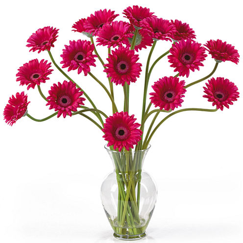 Nearly Natural Gerber Daisy Liquid Illusion Silk Flower Arrangement