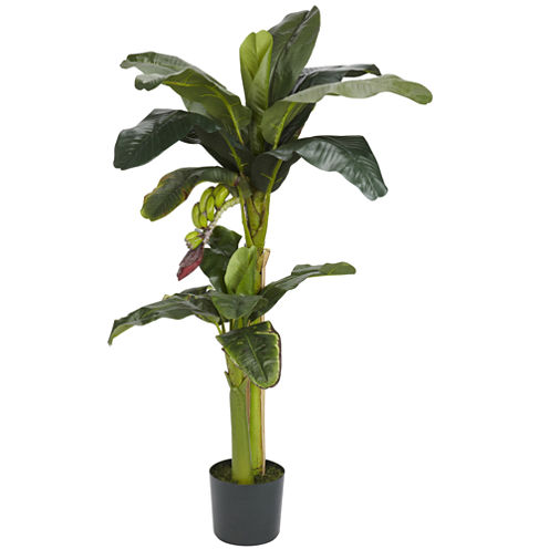 Nearly Natural 5-ft.+3-ft. Banana Silk Tree with Bananas