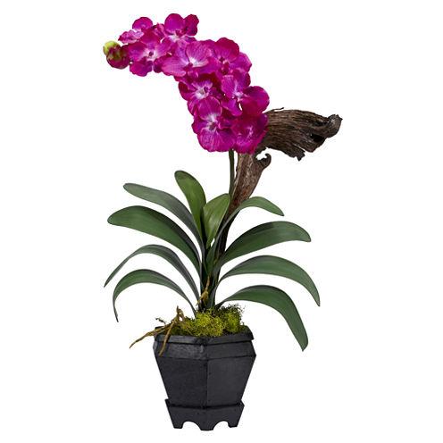 Nearly Natural Vanda With Black Hexagon Vase Silk Arrangement