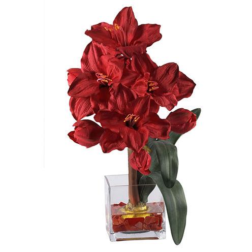 Nearly Natural Amaryllis Liquid Illusion Silk Flower Arrangement