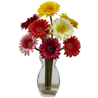 jcpenney.com | Nearly Natural Gerber Daisy With Vase Arrangement