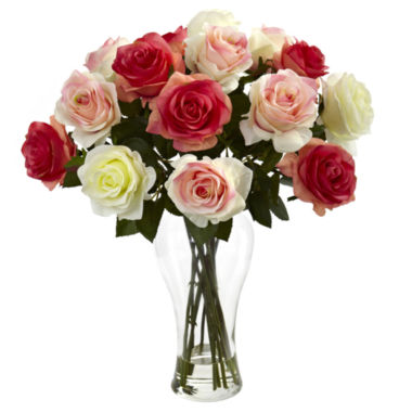 jcpenney.com | Nearly Natural Assorted Blooming Roses With Vase