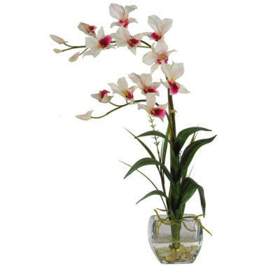 jcpenney.com | Nearly Natural Dendrobium with Glass Vase Silk Flower Arrangement