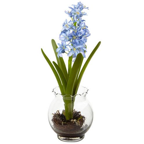 Nearly Natural Hyacinth & Birds Nest With Vase
