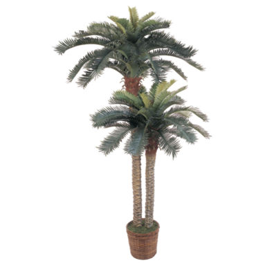 jcpenney.com | Nearly Natural 6-ft. & 4-ft. Sago Palm Double Potted Silk Tree