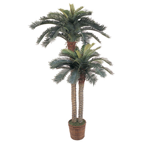 Nearly Natural 6-ft. & 4-ft. Sago Palm Double Potted Silk Tree
