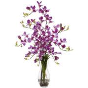 Dendrobium With Vase Silk Flower Arrangement