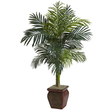 jcpenney.com | Nearly Natural 4.5-ft. Golden Cane Palm With Decorative Container