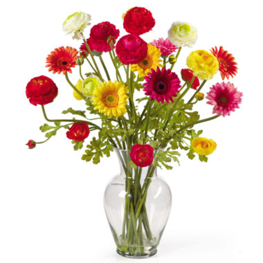 jcpenney.com | Nearly Natural Gerber & Ranunculus Liquid Illusion Silk Flower Arrangement