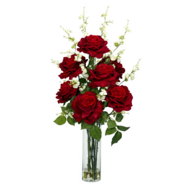 jcpenney.com | Nearly Natural Roses with Cherry Blossoms Silk Flower Arrangement