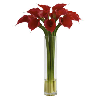 jcpenney.com | Red Calla Lily With Large Cylinder Vase