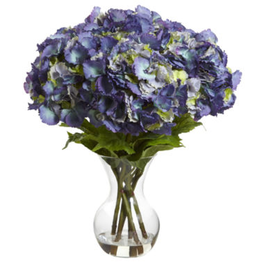 jcpenney.com | Nearly Natural Large Hydrangea With Vase Silk Flower Arrangement