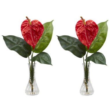 jcpenney.com | Nearly Natural Set of 2 Anthurium Silk Flower Arrangement with Bud Vase