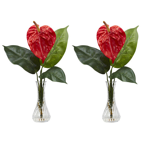 Nearly Natural Set of 2 Anthurium Silk Flower Arrangement with Bud Vase