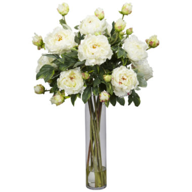jcpenney.com | Nearly Natural Peony with Cylinder Silk Flower Arrangement