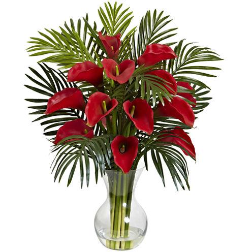 Nearly Natural Calla Lily & Areca Palm Silk Flower Arrangement