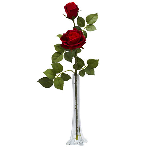 Nearly Natural Roses Silk Flower Arrangement with Tall Bud Vase