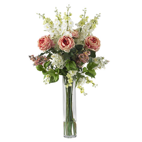 Nearly Natural Rose, Delphinium And Lilac Silk Flower Arrangement