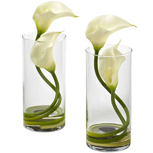 Nearly Natural Double Calla Set of 2 Lily With Cylinder