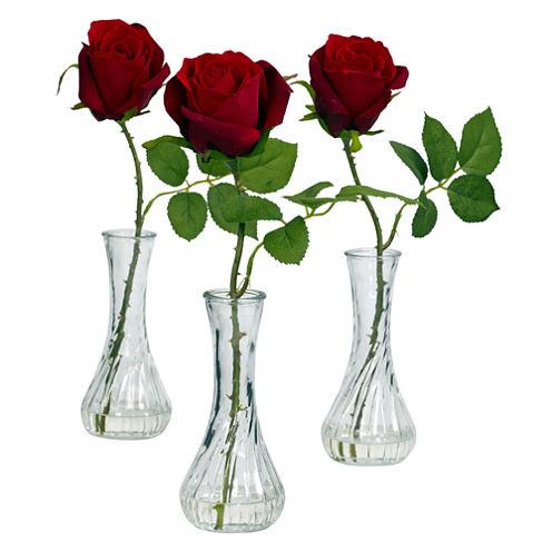 Rose With Bud Vase Set Of 3