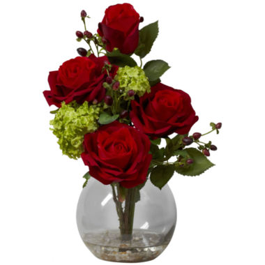 jcpenney.com | Nearly Natural Rose & Hydrangea Silk Flower Arrangement