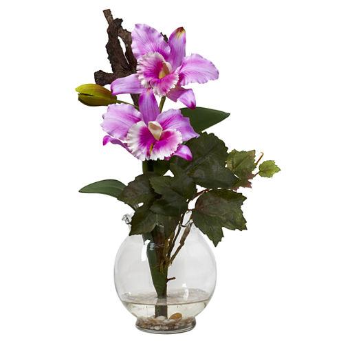 Nearly Natural Mini Cattleya With Fluted Vase Silk Flower Arrangement