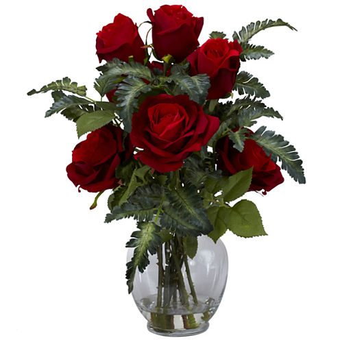 Nearly Natural Rose Silk Flower Arrangement with Fern