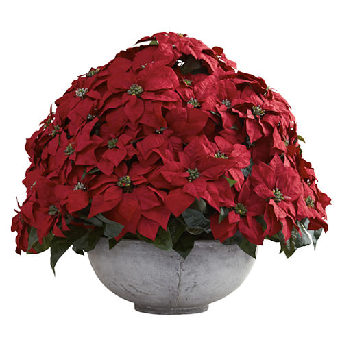 Nearly Natural Giant Poinsettia Arrangement With Decorative Planter
