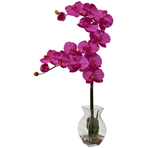 Nearly Natural Phalaenopsis Orchid With Vase Arrangement