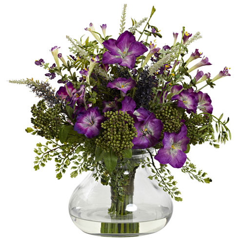 Nearly Natural Large Mixed Morning Glories with Vase