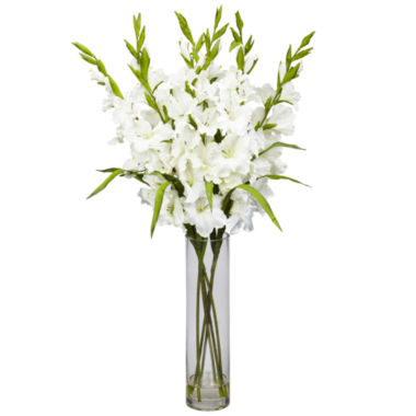 jcpenney.com | Nearly Natural Large Gladiola Silk Arrangement with Cylinder Vase