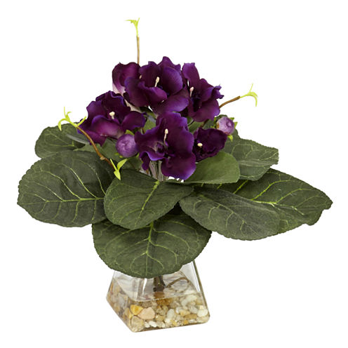Nearly Natural Gloxinia With Vase Silk Plant