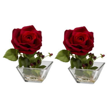 jcpenney.com | Nearly Natural Set Of 2 Rose Silk Flower Arrangements with Square Vase