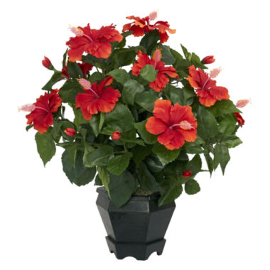 jcpenney.com | Nearly Natural Hibiscus With Black Hexagon Vase Silk Plant