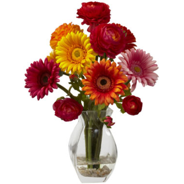 jcpenney.com | Nearly Natural Gerber Daisy & Ranunculus Delight Arrangement