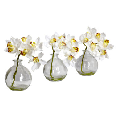 jcpenney.com | Nearly Natural Set of 3 Faux-Silk Cymbidium Flower Arrangements with Vase
