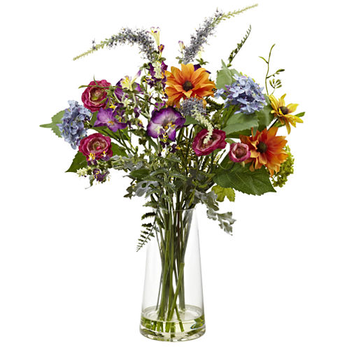 Nearly Natural Spring Garden Floral With Vase